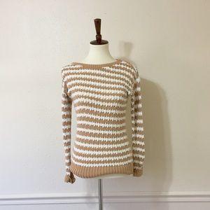 LOFT Crochet Tan and White Sweater